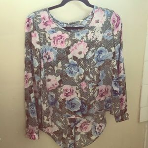 Satin flowery blouse